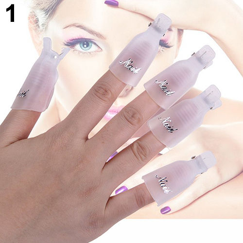 10x excellent plastic nail art soak off clip cap uv gel for Acrylic nail removal salon