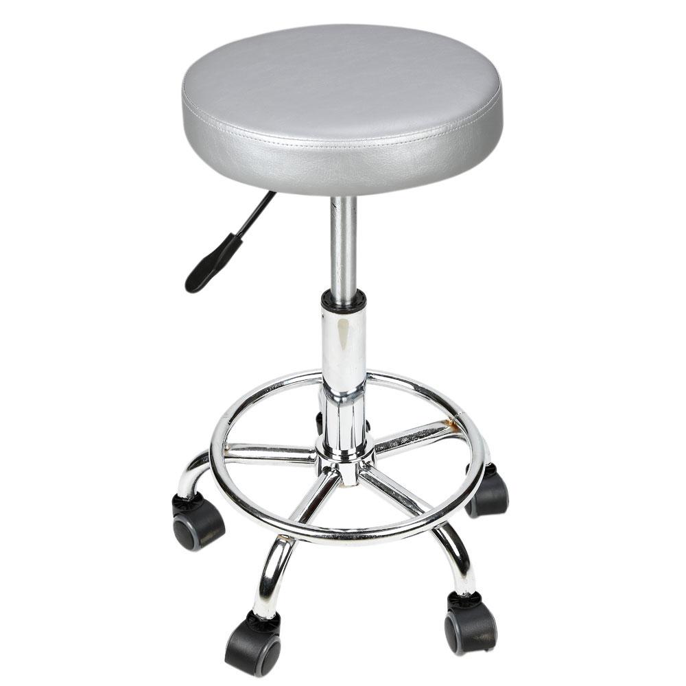 White Rolling Chair Adjustable 4 Colors Circular Cushion Tattoo Barber Salon Stool