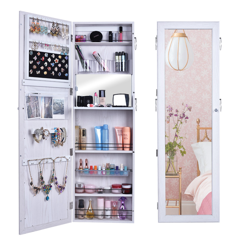 Full Length Dressing Mirror Door Wall Mounted Jewelry Cabinet Jewels  Organizer