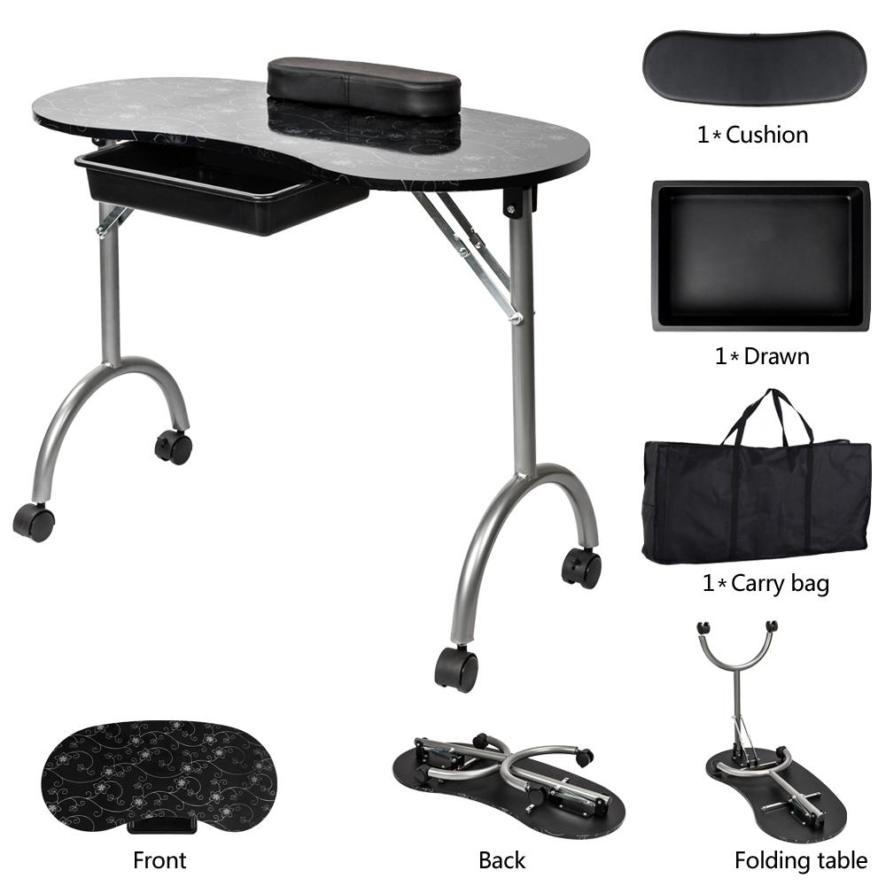 Rolling Portable Manicure Nail Table Station Foldable Desk Salon Spa ...
