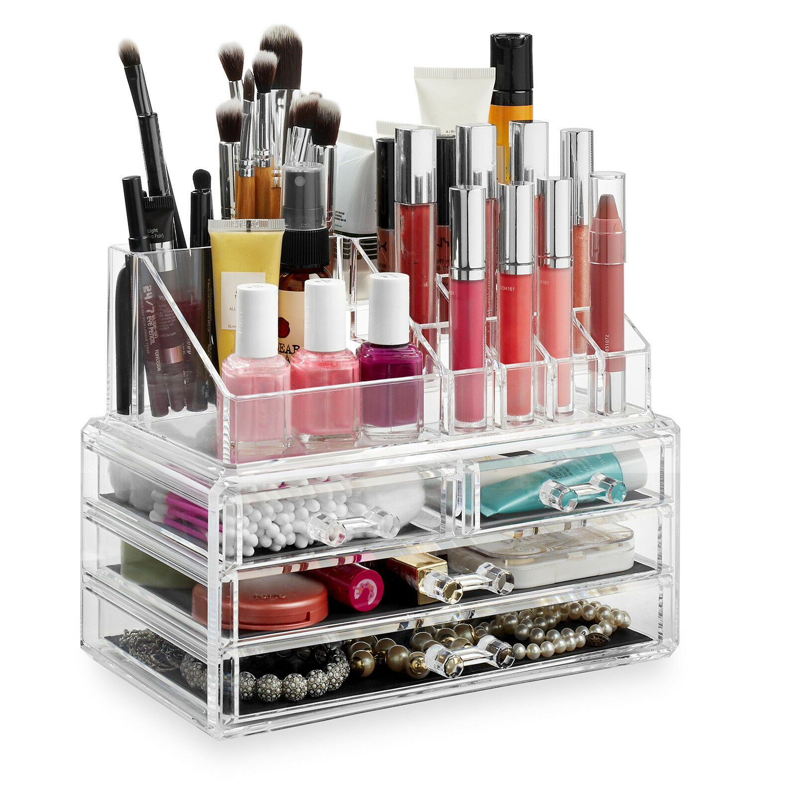 e9bb566710ee Details about Acrylic Makeup Box Cosmetic Organizer Drawer Holder Clear  Jewelry Storage Case